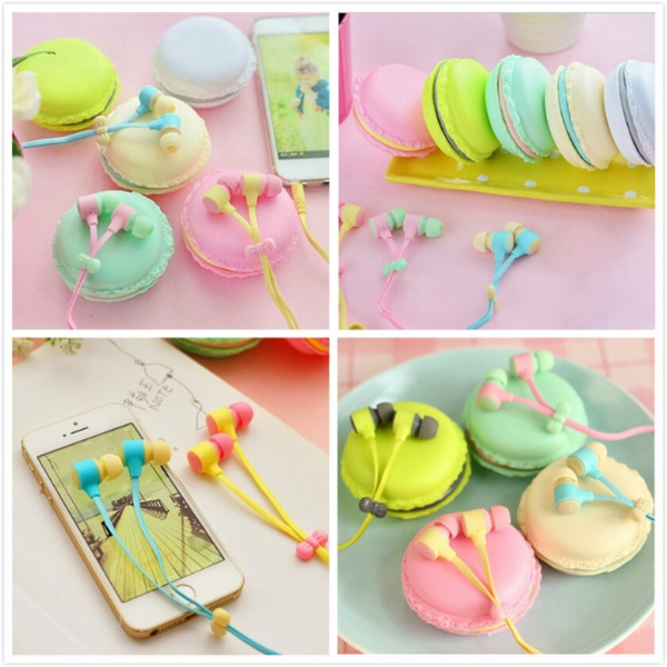 Picture of Lover-beauty Christmas Gift 1 Set Of New Fashion Macarons Design In-ear Earphones Headphones Headset For All Phones Cute Headphone For Mp3 Player Pc
