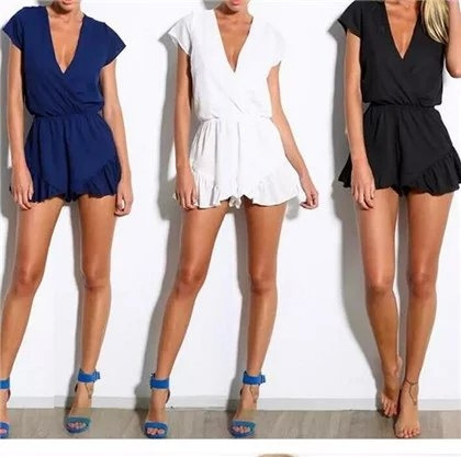 Picture of New Fashion Women Summer Style Falbala Chiffon Short Sleeve Overall Playsuits Female Casual V-neck Jumpsuits