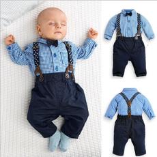 2PCS Kids Infant Baby Boys Plaid Shirt+Suspender Pants Overalls Clothes Outfits