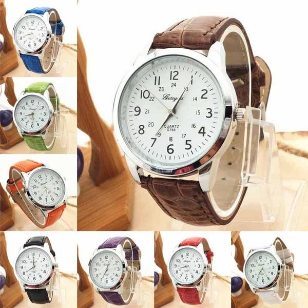 Picture of Elegant Analog Luxury Sports Leather Strap Quartz Mens Wrist Watchcolor Blackwhiteredgreenbluepurplebrownorange