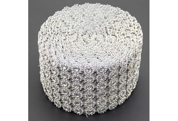 Silver Diamond Sunflower Mesh Wrap Crystal Rhinestone Sparkle Ribbon for Wedding Decoration(Size: 1 yard (L)) TG