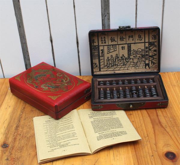 Wish 9 Column Wooden Abacus Primitive Calculator Wood Beads Math