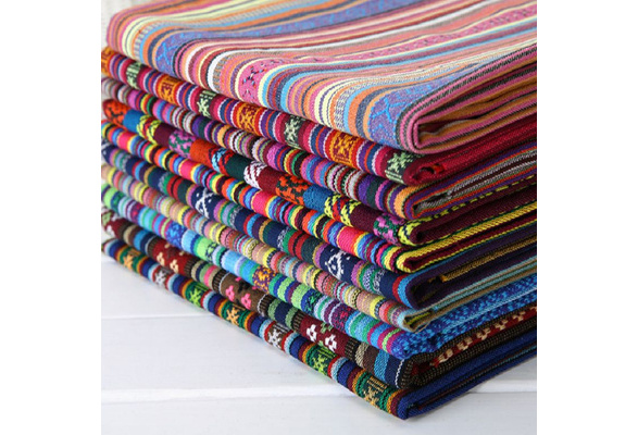 100% quality Yunnan ethnic style cloth colorful stripe pillowcases and sofa covers cloth hotel bar cafe tablecloths and curtains decorative fabric clothing fabric