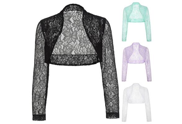 Women Long Sleeve Bridal Bolero/Shrug/Wrap Lace Wedding Jacket Tops Shawl
