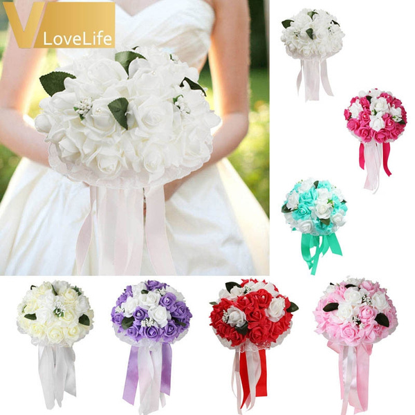 Picture of Fashion Many Colors Artificial Silk Flowers Bouquet Foam Roses Wedding Bouquet Bridal Bouquet Lace Decoration Natural Pearls Wedding Flowers