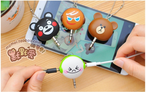 Picture of 1pcs Cute Gift Brown/white 3.5mm Dual Jack Earphone Audio Splitter Adapter To Headphone For Mp3 Player Earphone Splitter Adapter
