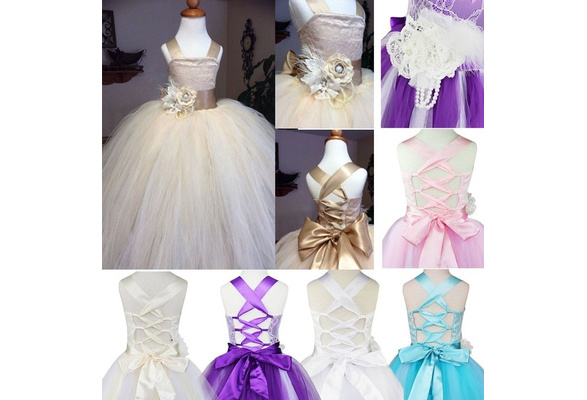 Flower Girl Dress Kids Bridesmaid Wedding Birthday Party Princess Dress Crossed Back