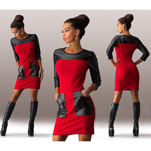 Picture of Women's Fashion Sexy Round Neck Stitching Pu Leather Dressus Size