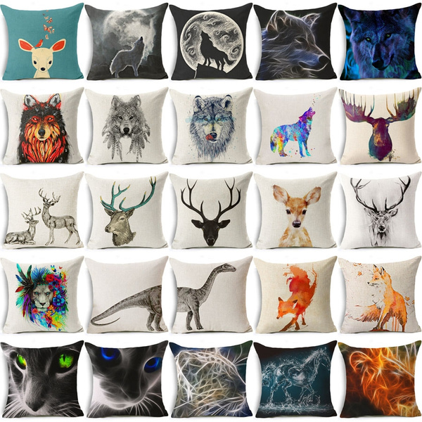 Picture of 18 Inches Wolf Deer Pillow Case Home Decoration Throw Pillow Case Square Pillow Bed Sofa Chair Pillow Cover