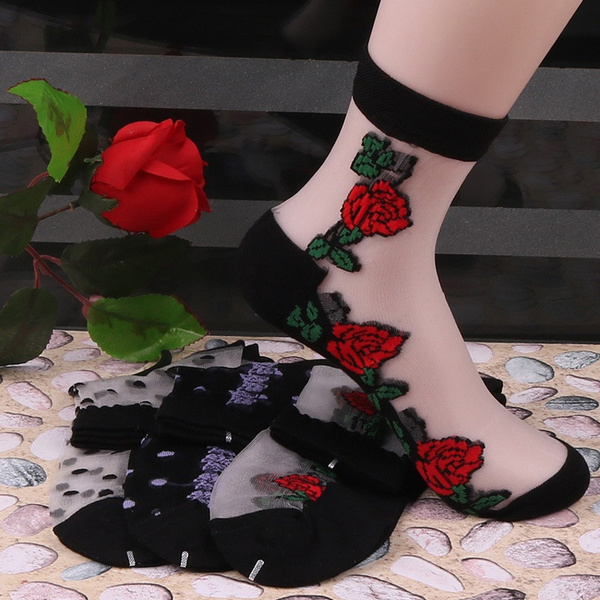 Fashion Women's Sexy Rose Ultrathin Transparent Beautiful Crystal Lace Elastic Short Socks