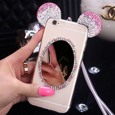 3D Cute Cartoon Bling Diamond Rhinestone Mickey Minnie Mouse Ears Case Clear Mirror Cover for iPhone 6 6s 4.7 Plus 5.5