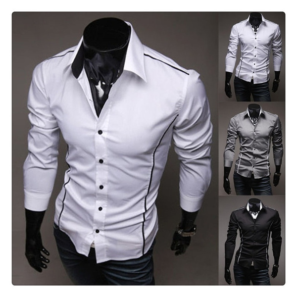 3f6948d98 Size XS-XL New Style Slim Fit chemises homme Mens Casual Long Sleeve Dress  Shirts