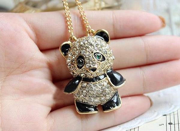Picture of Fashion Rhinestone Crystal Panda Sweater Chain Girl Cute Animal Pendant Necklace