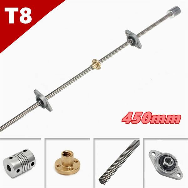 Picture of T8 450mm Stainless Steel Lead Screw + Coupling Shaft + Mounting Support For 3d Printer Color Silver