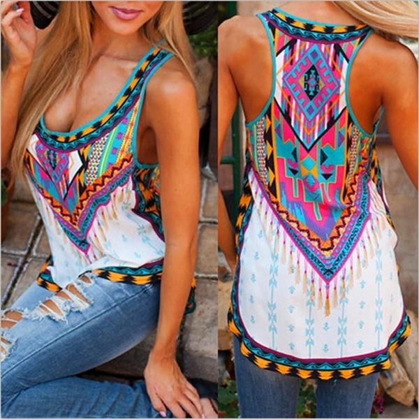 Vest, Plus Size, printed shirts, Loose