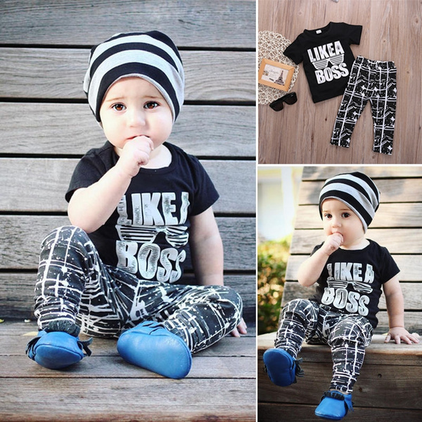 Kids Short Sleeve Baby Boy Summer Clothes Casual Tops T-shirt+Pants 2pcs Outfits 1-5Years