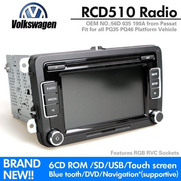 VW Original OEM RCD510 Car Radio Support USB Rear View Camera RVC Golf 5 6  Jetta CC Tiguan Passat RCD510 With Code 56D035190A@JRS