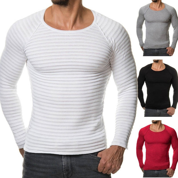 Mens Casual Slim Fit Pullover Sweaters Round Neck Casual T-Shirt Tops