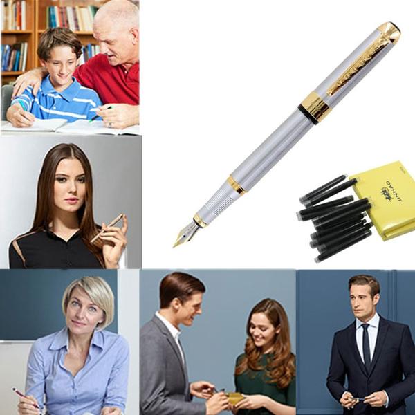250 Stainless Steel Writing Gold Trim Fountain Pen+10Pcs Black Ink Refills Set