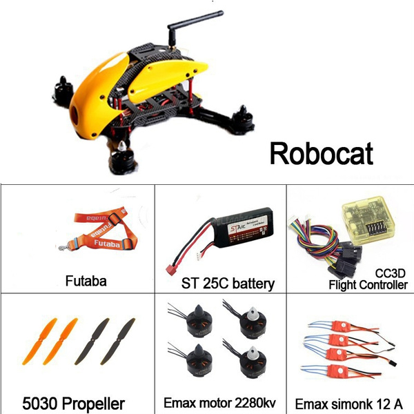 Rc Quadcopter Robocat Emax Brushless Motor Simonk 12A Esc DIY Drone With  CC3D Flight Controller
