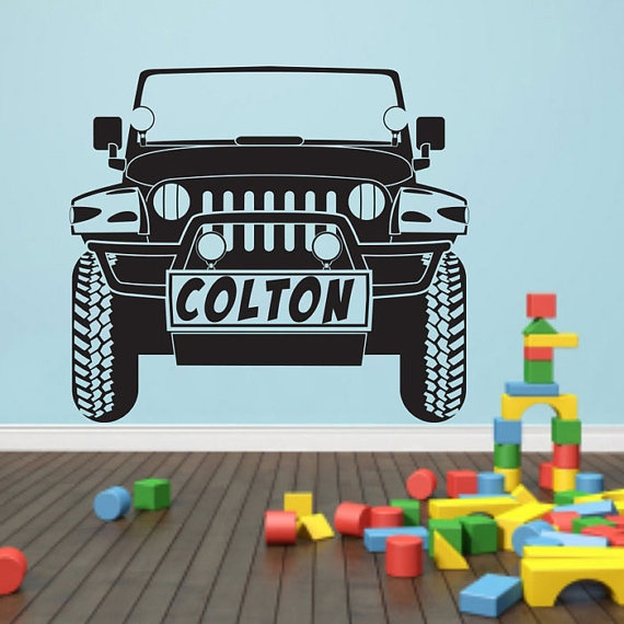 Personalized Car Name Jeep Wrangler Wall Decal Art Decor Sticker Vinyl Jeep  Wall Decal Jeep Decal Jeep Decor Wrangler Decal Jeep Sticker
