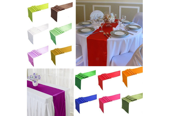 1 Pcs 30x275cm Satin Table Runner Wedding Party Reception Banquet Decoration