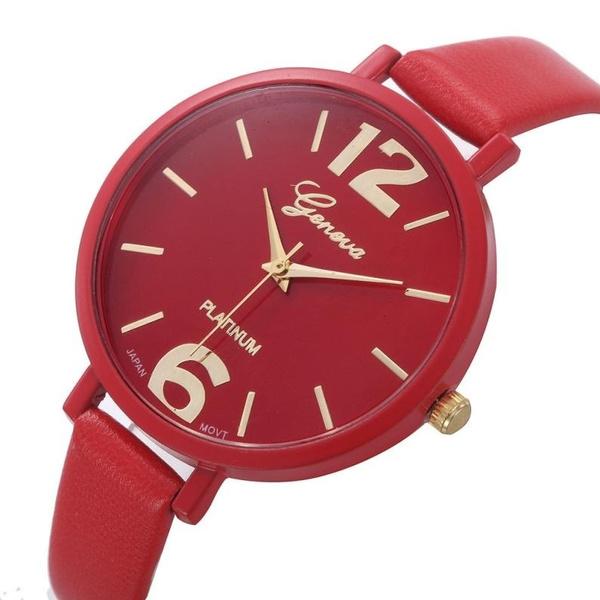 Fashion Women Geneva Watches Ladies Faux Leather Analog Quartz Wrist Watch Best Price