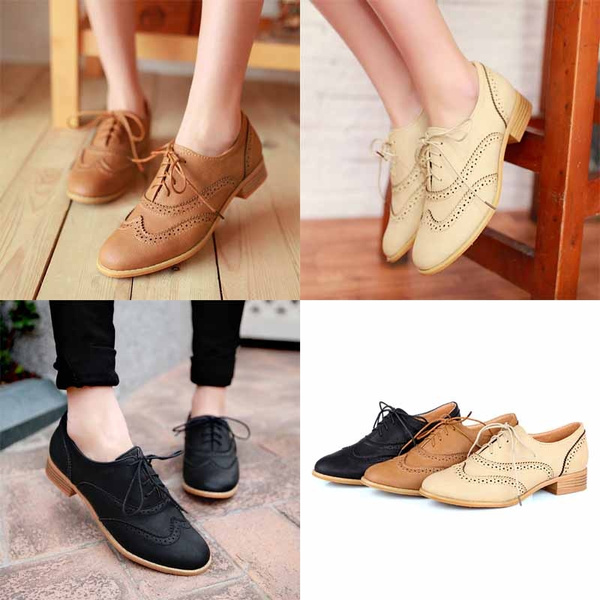 100% top quality innovative design cheap sale Fashion Round Toe Lace Up Women Flat Oxford Shoes Size 34-43 Shoes Woman  Vintage Carved Oxford Shoes For Women Ladies Oxfords