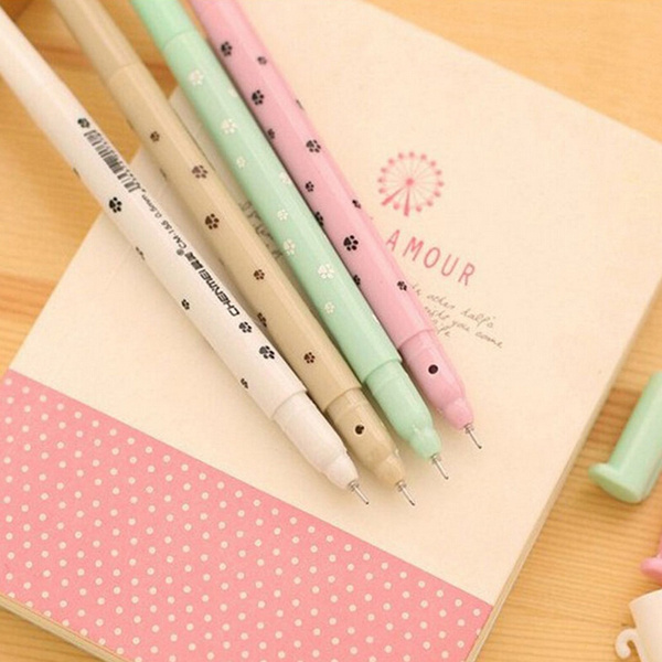 Cute Kawaii Fun Black 0.5mm Gel ink Roller Ball Point Pen Fine Cat Korean Best Gift For You