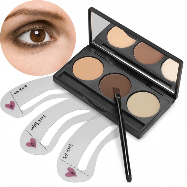 Picture of Acevivi 3 Colors Eyebrow Powder Eye Brow Palette With 3 Pcs Eyebrow Stencils Set