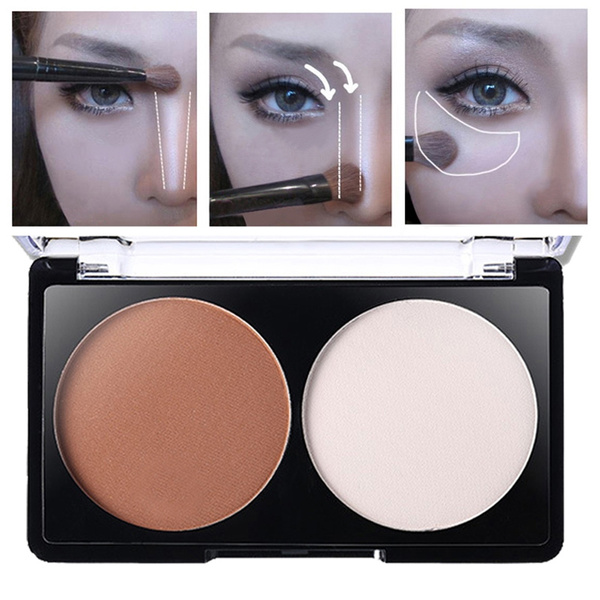 Picture of 2 Color Concealer Palette Shadow Powder Bronzer Face Contour Grooming Makeup Comestic