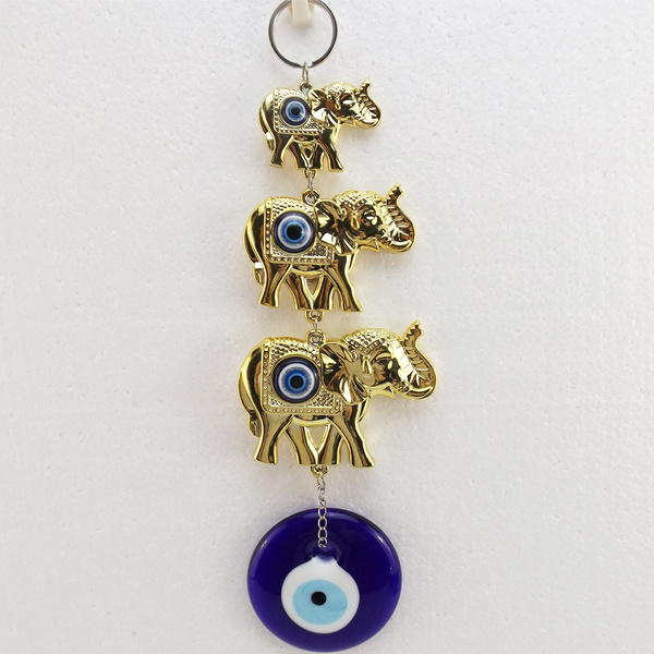 3 Lucky Gold Elephant Evil Eye (Nazar) Amulet Wall Hanging Wall Decoration
