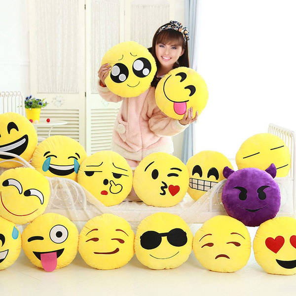 1pc 30cm Emoji Smiley Emoticon Yellow Round Cushion Pillow Stuffed Plush Doll Multi Style