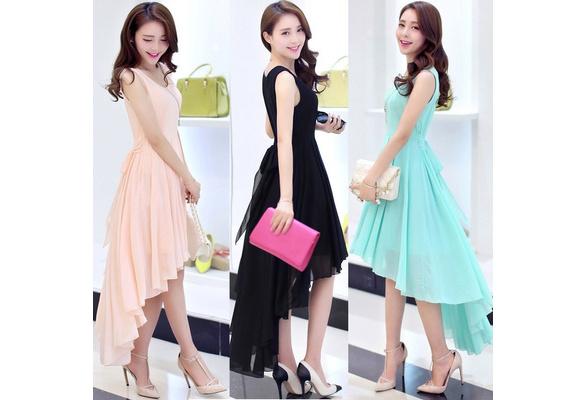 JNZZI Summer Elegant Chiffon Dress Simple Sweet Style Sleeveless Front Short Back Long Irregular Swing Middle Long Dress Party Dress Wedding Bridesmaid Dress
