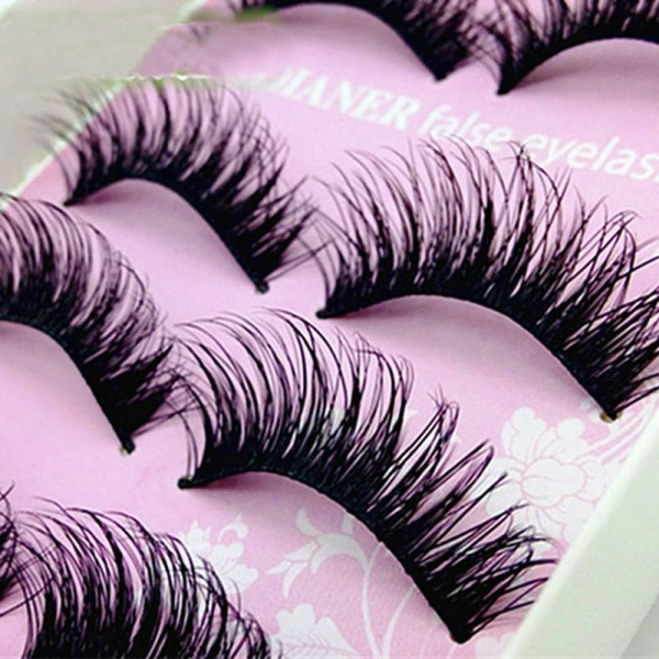 Picture of 5 Pairs Fake Long Natural False Eyelashes Cross Eye Lashes Extension Handmade