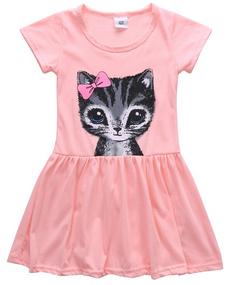 Pretty Girls Kids Summer Dress Cotton Short Sleeve Cat Print Party Dress Cute Girls Dress Age2-8Y