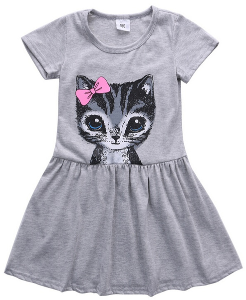 Pretty Girls Kids Summer Dress Cotton Short Sleeve Cat Print Party Dress Cute Girls Dress Age2-8Y
