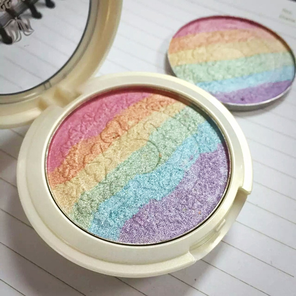 Baked Prism Rainbow Eyeshadow Highlighter Powder Makeup Shimmer Blusher Eye Shadow Palette with Mirror Sponge