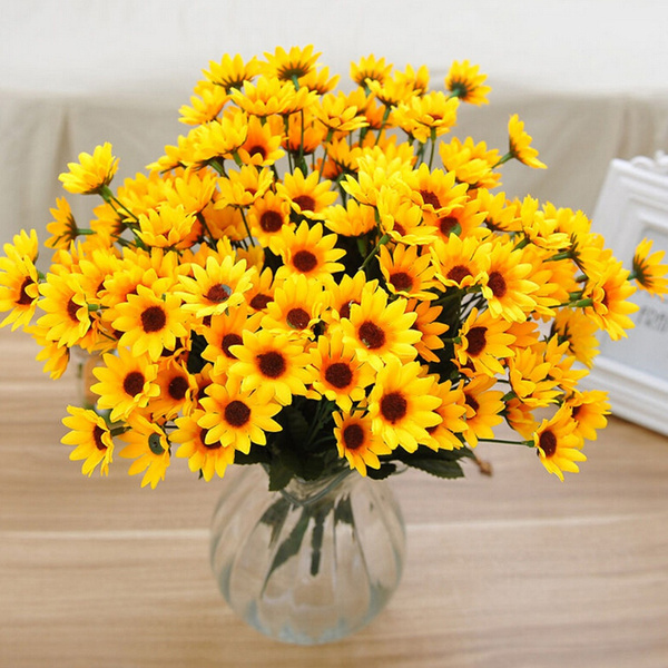 Picture of Fake Silk Artificial 14 Heads Sunflower Flower Bouquet Floral Wedding Home Party Ce