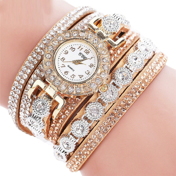 Picture of New Women Fashion Casual Analog Quartz Women Rhinestone Watch Bracelet Watches
