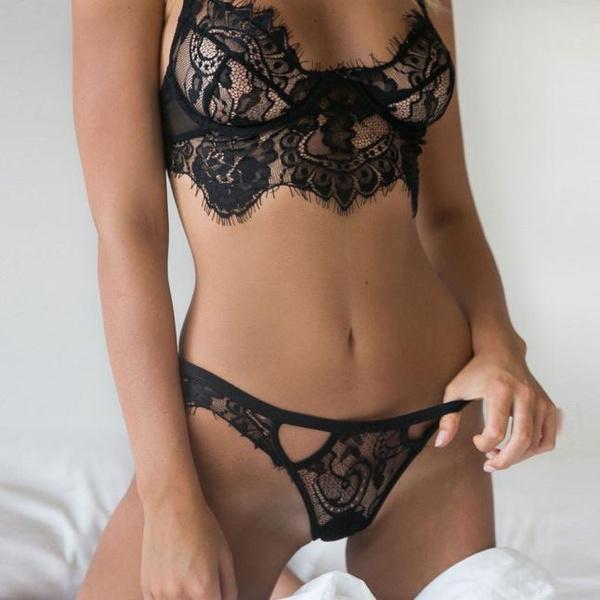 Popular Sexy Women Lingerie Lace Dress Babydoll Underwear Nightwear Sleepwear G-string(Color:Black,White  Size:S/M/L/XL)