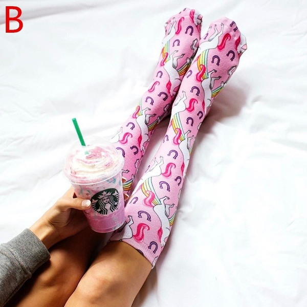 New Fashion Women Knee High Long Socks Mermaid Printing Cute Beautiful Medias High Socks