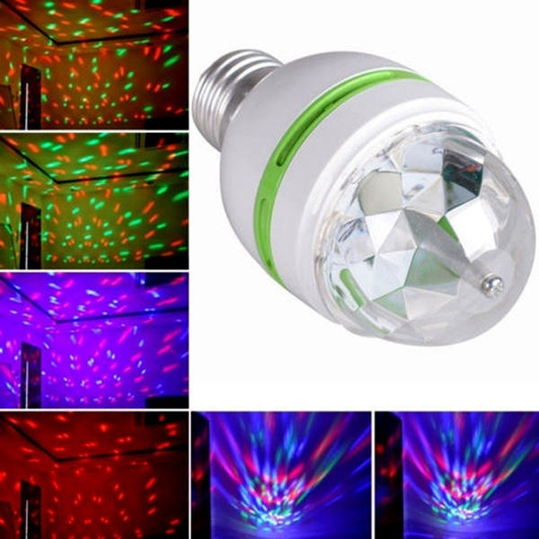 Cute Colorful 3W Auto Rotating RGB LED Bulb Housing Stage Light Party Disco Lamp (Size: 1)#FYX