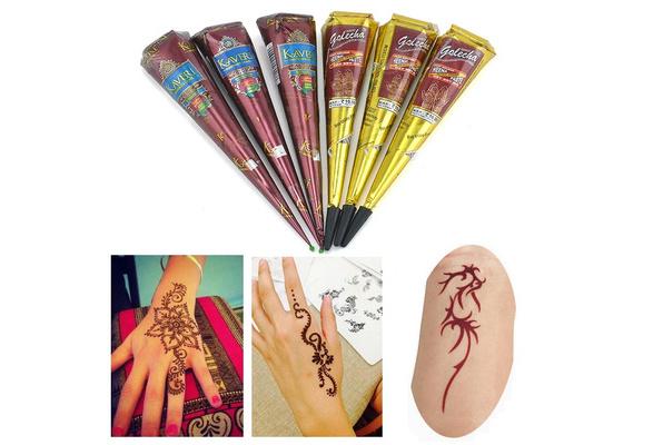 Brown Natural Herbal Henna Cones Temporary Tattoo Body Art Paint Mehandi ink