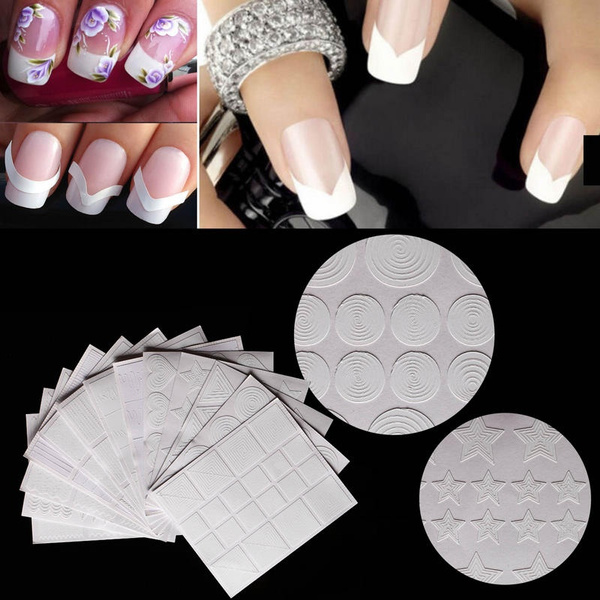 Picture of 12 Styles/set Manicure Diy Nail Art Form Fringe Guides French Sticker Stencil