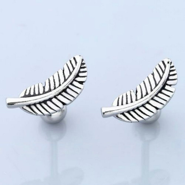 1Pair Feather Barbell Ear Cartilage Helix Stud Bar Earring Piercing