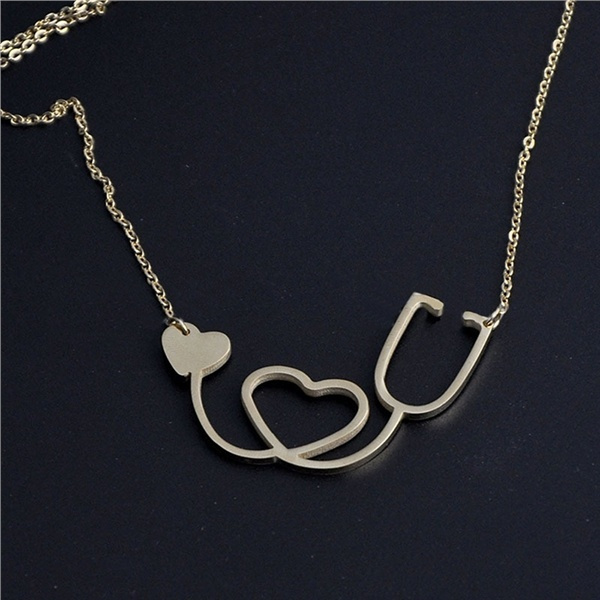 Stylish Women Rose Gold/Gold/Silver Plated Medical Stethoscope Heart Collar Body Chain Necklace