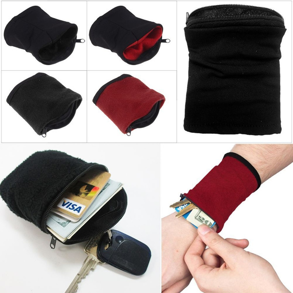 Picture of Wrist Wallet Pouch Band Fleece Zipper Running Travel Gym Cycling Safe Sport