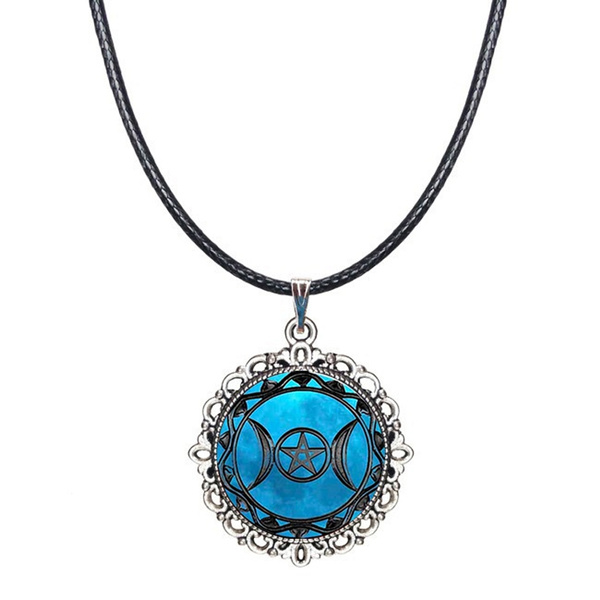 Triple Moon Goddess Pendant Moon Goddess Glass Dome Necklace Wiccan Jewelry New