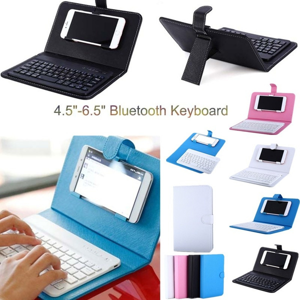 Picture of Wireless Bluetooth V3.0 Keyboard Case Leather Cover With Stand Universal For 4.5 / 6.5 Inch Cell Phones